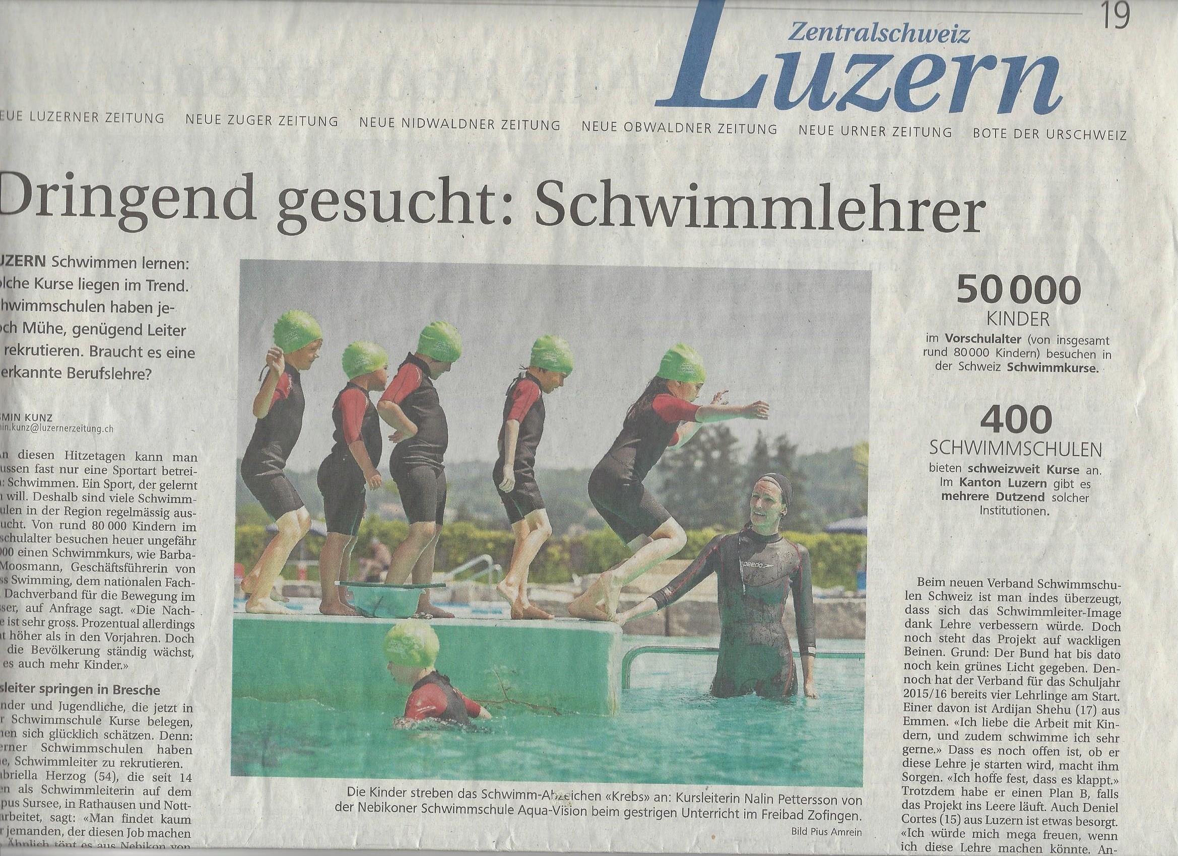 Dringend Schwimmlehrer gesucht